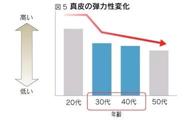 花王調べによる真皮の弾力性低下グラフ