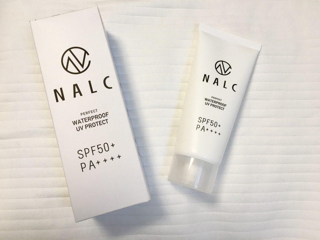 NALCパーフェクトウォータープルーフ日焼け止めジェルの外箱とパッケージ