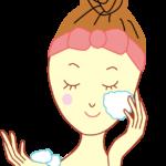 洗顔中の女性のイラスト