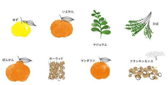 草花木果の天然香料100%オリジナルレシピの原料一覧